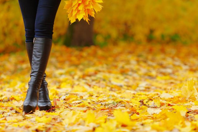 Woman's boots standing confidently in Autumn leaves.
